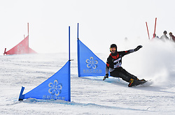 ZHANGJIAKOU, Feb. 24, 2019  Dmitry Loginov of Russia competes during the men's Parallel Slalom final of FIS Snowboard World Cup 2018-2019 in Zhangjiakou of north China's Hebei Province, on Feb. 24, 2019. (Credit Image: © Xinhua via ZUMA Wire)