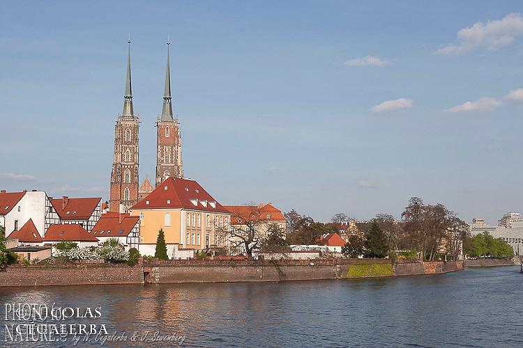 La cathedrale Saint-Jean-Baptiste devant le fleuve Oder (Odra en polonais)