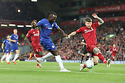 15 Victor Moses for Chelsea FC cross is blocked by 18 Alberto Moreno for Liverpool FC during the EFL Cup match between Liverpool and Chelsea at Anfield, Liverpool, England on 26 September 2018.