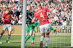 (L-R) Nicolai Jorgensen of Feyenoord, Ron Vlaar of AZ 0-1 during the Dutch Toto KNVB Cup Final match between AZ Alkmaar and Feyenoord on April 22, 2018 at the Kuip stadium in Rotterdam, The Netherlands.