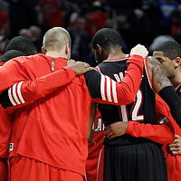 16 March 2012: Portland players gather at the end of the Portland Trail Blazers 100-89 victory over the Chicago Bulls at the United Center, Chicago, Illinois, USA.