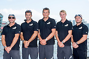 Emirates Team New Zealand competeing in the Extreme Sailing Series regatta being sailed in Singapore. James Dagg, Jeremey Lomas, Dean Barker, Edwin De Laat and Glenn Ashby. 20/2/2014