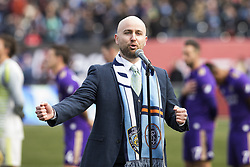 March 17, 2018 - New York, New York, United States - Irish tenor David O'Leary performs US National Anthem before MLS regular game between Orlando City SC & NYC FC at St. Patrick's Day at Yankee stadium NYC FC won 2 - 0  (Credit Image: © Lev Radin/Pacific Press via ZUMA Wire)