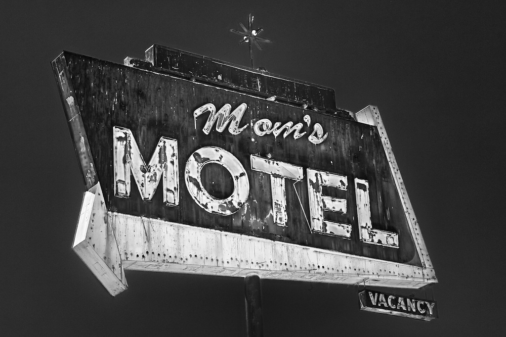 Mom's Motel Sign Southbound View - Tulare, CA - Highway 99 - HDR - Infrared Black & White