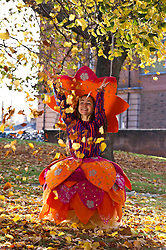 Pictured: Liberty Bramall wearing a Pippa Brown design which was influenced by Lakshmi, the Hindu goddess of wealth, fortune and prosperity.<br />  Outfits adorned with bells, lights and mirrors are among the designs by University of Edinburgh students which are to feature at events marking the Indian festival of Diwali this weekend<br /> (c) Ger Harley | Edinburgh Elite media