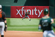 San Francisco Giants center fielder Steven Duggar (78) catches an Oakland Athletics fly ball at Oakland Coliseum in Oakland, California, on March 25, 2018. (Stan Olszewski/Special to S.F. Examiner)