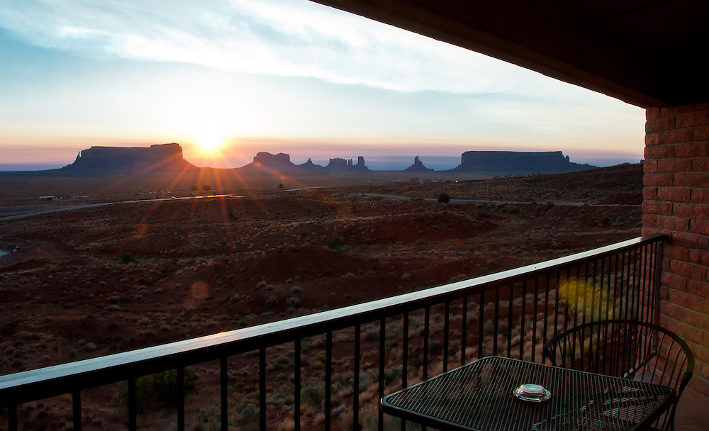 Sunrise from Room 220, in Goulding's Lodge, Monument Valley, Utah.