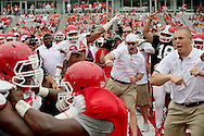 Coaches and players cheer on circle drill match competitors before in the Spring Red and White game on April 18, 2015 at TDECU Stadium in Houston, TX. White won 24 to 11. (Photo: Thomas B. Shea/For the Chronicle)