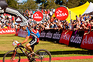 Oak Valley ( Elgin / Grabouw ), SOUTH AFRICA - Barti bucher celebrates their overall win during the final stage stage seven , 7 , of the Absa Cape Epic Mountain Bike Stage Race between Oak Valley ( Elgin / Grabouw ) and Lourensford on the 28 March 2009 in the Western Cape, South Africa..Photo by Karin Schermbrucker  /SPORTZPICS