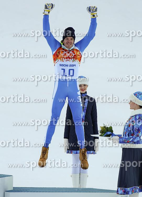 14.02.2014, Rosa Khutor Alpine Center, Krasnaya Polyana, RUS, Sochi, 2014, Super- Kombination, Herren, Flower Ceremonie, im Bild Bronzemedaillen Gewinner Christof Innerhofer (ITA) // Bronze Medalist Christof Innerhofer of Italy during the Flower Ceremony of the mens Super Combined of the Olympic Winter Games 'Sochi 2014' at the Rosa Khutor Alpine Center, Krasnaya Polyana, Russia on 2014/02/14. EXPA Pictures &copy; 2014, PhotoCredit: EXPA/ Minkoff<br /> <br /> *****ATTENTION - OUT of GER*****