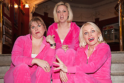 """© Licensed to London News Pictures. 20/02/202. London, England. L-R: Julie Coombe, Laura Checkley and Margi Clarke. """"Hormonal Housewives"""" a comedy starring Margi Clarke, Laura Checkley and Julie Coombe embarks on a UK tour from 22 February to 13 May 2012, starting at the New Wimbledon Theatre. Photo credit: Bettina Strenske/LNP"""