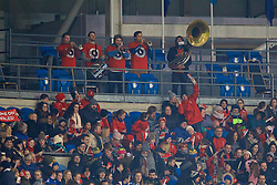 CARDIFF, WALES - Friday, November 24, 2017: Wales band the Barry Horns play during the FIFA Women's World Cup 2019 Qualifying Round Group 1 match between Wales and Kazakhstan at the Cardiff City Stadium. (Pic by David Rawcliffe/Propaganda)