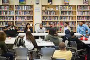 Robert Rosenthal, Marissa Canez, Cristino Rivera, Freddie Smith, Aracelio Rivera, and Montell Allen, left to right, present during the Black Student Union seminar at Milpitas High School in Milpitas, California, on February 27, 2016. (Stan Olszewski/SOSKIphoto)