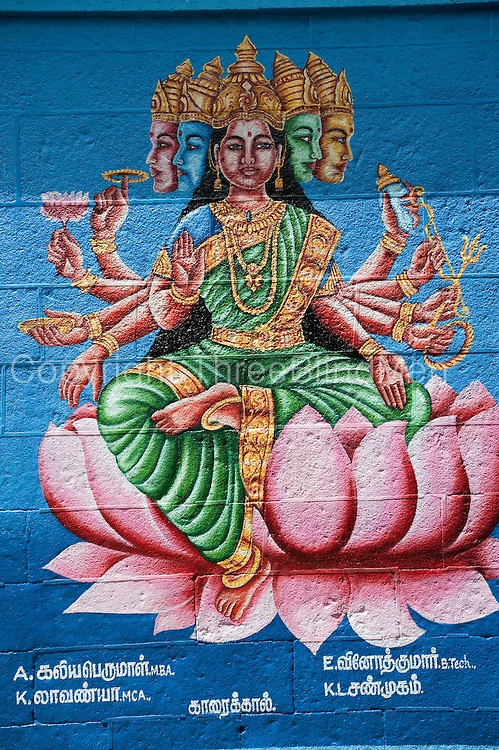 Painting of deities from the Hindu Pantheon on the walls of the Singaravelan Temple, Sikkal. Tamil Nadu.