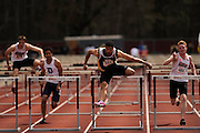 AMHERST, MA - MAY 3: Chase Turner of Virginia Commonwealth University (544) and Zachary Grube of the University of Massachusetts Amherst (484) compete in the men's 110 meter high hurdles during Day 1 of the Atlantic 10 Outdoor Track and Field Championships at the University of Massachusetts Amherst Track and Field Complex on May 3, 2014 in Amherst, Massachusetts. (Photo by Daniel Petty/Atlantic 10)