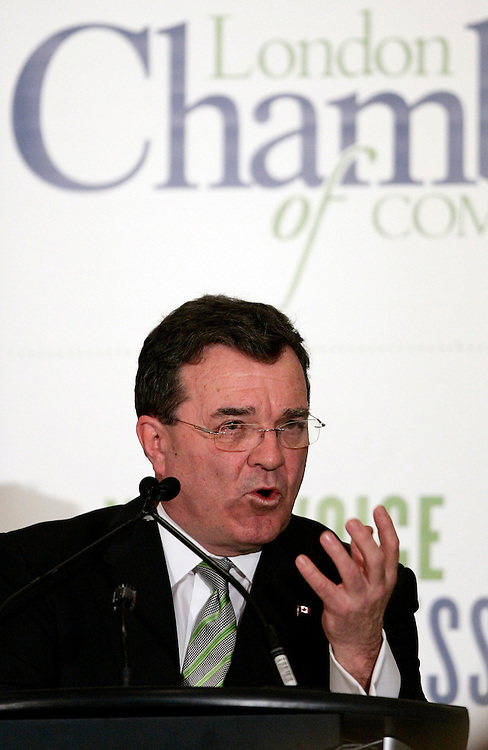 Finance Minister Jim Flaherty speaks to the London Chamber of Commerce in London, Ontario, March 5, 2010 following Thursday's federal budget.<br /> REUTERS/Geoff Robins (CANADA/)