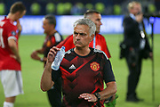 Manchester United Manager Jose Mourinho after the game with drinks bottle at the UEFA Super Cup Final match between Real Madrid and Manchester United at the Philip II Arena, Skopje, Macedonia on 8 August 2017. Photo by Phil Duncan.