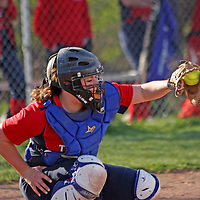 Southwqestern's catcher Maggie Burns during the bottom of the 4th inning against Dunkirk 4-20-16 photo by Mark L Anderson