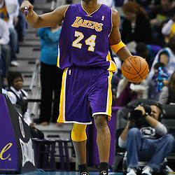 February 5, 2011; New Orleans, LA, USA; Los Angeles Lakers shooting guard Kobe Bryant (24) during the first quarter against the New Orleans Hornets at the New Orleans Arena.   Mandatory Credit: Derick E. Hingle