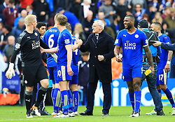 Leicester City Manager Claudio Ranieri celebrates with his players at full time - Mandatory by-line: Matt McNulty/JMP - 24/04/2016 - FOOTBALL - King Power Stadium - Leicester, England - Leicester City v Swansea City - Barclays Premier League