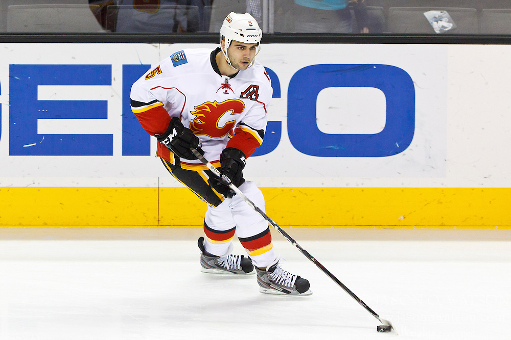 Jan 17, 2012; San Jose, CA, USA; Calgary Flames defenseman Mark Giordano (5) warms up before the game against the San Jose Sharks at HP Pavilion. San Jose defeated Calgary 2-1 in shootouts. Mandatory Credit: Jason O. Watson-US PRESSWIRE