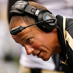 August 17, 2012; New Orleans, LA, USA; New Orleans Saints offensive line and running game coach Aaron Kromer during the second half of a preseason game against the Jacksonville Jaguars at the Mercedes-Benz Superdome. The Jaguars defeated the Saints 27-24.  Mandatory Credit: Derick E. Hingle-US PRESSWIRE