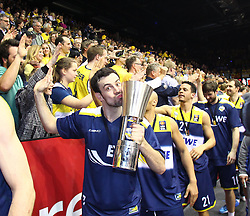 12.04.2015, Brose Arena, Bamberg, GER, Beko Basketball BL, Brose Baskets Bamberg vs EWE Baskets Oldenburg, Top Four 2015, Finale, im Bild Philip Zwiener ( EWE Baskets Oldenburg ) mit dem Pokal bei den Fans // during the Beko Basketball Bundes league TOP FOUR 2015 final match between Brose Baskets Bamberg and EWE Baskets Oldenburg at the Brose Arena in Bamberg, Germany on 2015/04/12. EXPA Pictures © 2015, PhotoCredit: EXPA/ Eibner-Pressefoto/ Langer<br /> <br /> *****ATTENTION - OUT of GER*****