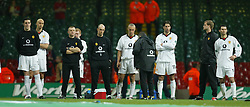 CARDIFF, WALES - Sunday, March 2, 2003: Manchester United's players look dejected after losing 2-0 to Liverpool during the Football League Cup Final at the Millennium Stadium. (Pic by David Rawcliffe/Propaganda)