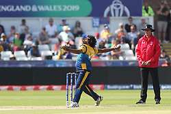 June 28, 2019 - Chester Le Street, County Durham, United Kingdom - Lasith Malinga of Sri Lanka bowling during the ICC Cricket World Cup 2019 match between Sri Lanka and South Africa at Emirates Riverside, Chester le Street on Friday 28th June 2019. (Credit Image: © Mi News/NurPhoto via ZUMA Press)
