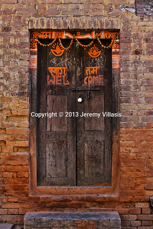 Door written with special symbols in Bhaktapur.