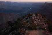 Sunrise view of the Grand Canyon from Desert View Watchtower, South Rim. Grand Canyon National Park, Arizona.