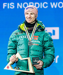 23.02.2019, Medal Plaza, Seefeld, AUT, FIS Weltmeisterschaften Ski Nordisch, Seefeld 2019, Skisprung, Herren, Siegerehrung, im Bild Silbermedaillengewinner Karl Geiger (GER) // Silver medalist Karl Geiger of Germany during the winner Ceremony for the men's Skijumping HS130 competition of FIS Nordic Ski World Championships 2019 at the Medal Plaza in Seefeld, Austria on 2019/02/23. EXPA Pictures © 2019, PhotoCredit: EXPA/ Stefan Adelsberger