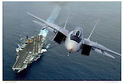 F-14A on aircraft carrier fly-by