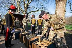 © Licensed to London News Pictures. 06/02/2020. London, UK. Soldiers from the king's Troop Royal Horse Artillery organise the blank artillery rounds for the 41-gun salute in Green Park to mark the 68th anniversary of the Queen's Accession to the Throne. Photo credit: Alex Lentati/LNP