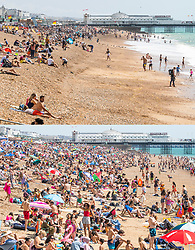 © Licensed to London News Pictures. 01/08/2020. Brighton, UK. Comparison image showing Brighton beach today (TOP) and the same view with a packed beach yesterday (BOTTOM) . Photo credit: Hugo Michiels/LNP