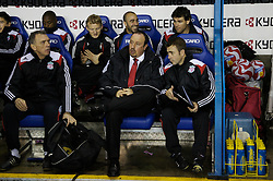 Reading, England - Saturday, December 8, 2007: Liverpool's manager Rafael Benitez with first team coach Alex Miller (L) and fitness coach Paco de Miguel (R) before the Premiership match against Reading at the Madejski Stadium. (Photo by David Rawcliffe/Propaganda)