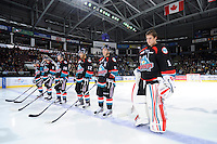 KELOWNA, CANADA, OCTOBER 11: Kevin Smith #3, Spencer Main #16, Tyrell Goulbourne #12, Cody Chikie #14 and Adam Brown #1 line up at the start of the game as the Medicine Hat Tigers visited the Kelowna Rockets on October 11, 2011 at Prospera Place in Kelowna, British Columbia, Canada (Photo by Marissa Baecker/shootthebreeze.ca) *** Local Caption *** Kevin Smith;Spencer Main;Tyrell Goulbourne;Cody Chikie;Adam Brown;