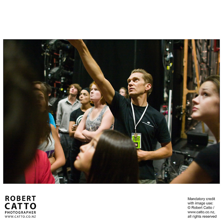 Directors and designers talk with students on a backstage tour of Downstage, the St James Theatre and Shed 6 during SchoolFest at the New Zealand International Arts Festival 2008 in Wellington.