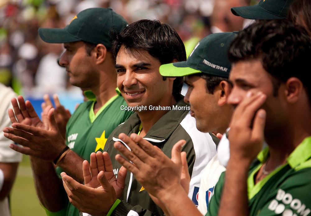 Victorious in his first game as Pakistan captain, Salman Butt (2nd from left) celebrates after beating Australia in the second MCC Spirit of Cricket Test Match at Headingley, Leeds.  Photo: Graham Morris (Tel: +44(0)20 8969 4192 Email: sales@cricketpix.com) 24/07/10