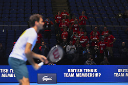 November 14, 2017 - London, England, United Kingdom - Roger Federer of Switzerland during a training session during day three of the Nitto ATP World Tour Finals at O2 Arena, London on November 14, 2017. (Credit Image: © Alberto Pezzali/NurPhoto via ZUMA Press)