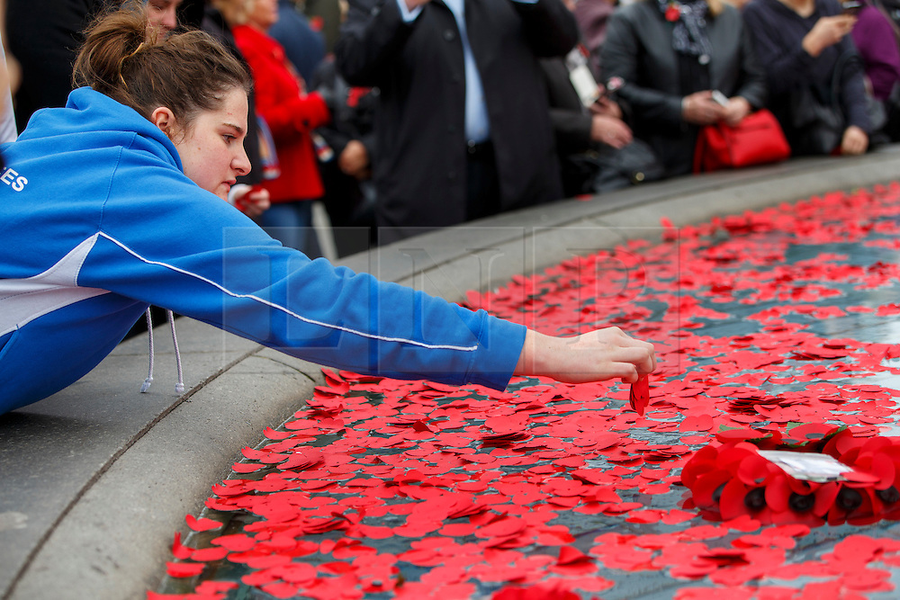 © Licensed to London News Pictures. 11/11/2015. London, UK. Members of the public throw remembrance poppies to the fountains in Trafalgar Square during Silence in the Square event as part of Armistice Day on Wednesday, 11 November 2015. Photo credit: Tolga Akmen/LNP