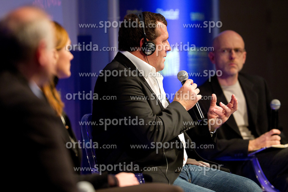 Mitja Petrovic of Publicis Group, Petra Majdic, former cross country skier and Toby Hester of Castrol with moderator Bostjan Tadel during sports marketing conference Sporto 2011, on November 21, 2011 in Hotel Slovenija, Portoroz / Portorose, Slovenia. (Photo By Vid Ponikvar / Sportida.com)