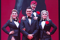 "© Licensed to London News Pictures. 17/06/2015. London, UK. L-R: Georgina Hagen, Ray Quinn, Rachel Stanley and Louise Dearman. UK premiere of ""Judy - The Songbook of Judy Garland"" - a show celebrating the classic songs of Judy Garland - opens at the New Wimbledon Theatre, London before a UK tour. The show runs from 16 to 20 June 2015. Photo credit : Bettina Strenske/LNP"