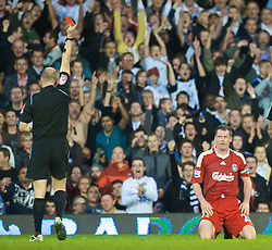 LONDON, ENGLAND - Saturday, October 31, 2009: Liverpool's Jamie Carragher is shown the red card and sent-off by referee Lee Mason against Fulham during the Premiership match at Craven Cottage. (Pic by David Rawcliffe/Propaganda)