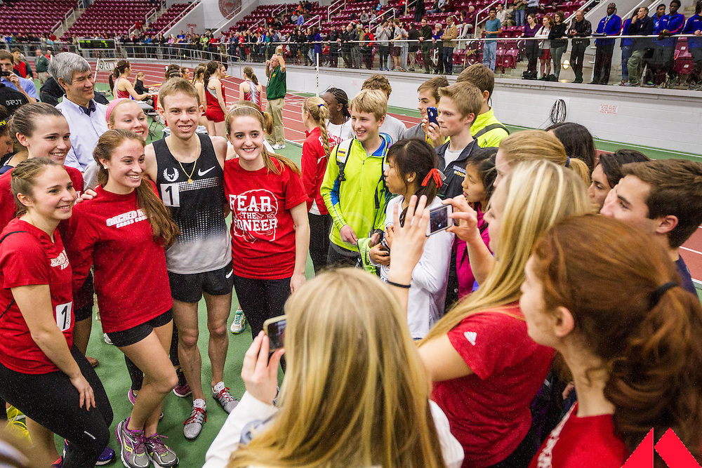 Boston University Multi-team indoor track & field meet, post race photo opportunity with Rupp