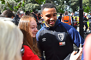 Callum Wilson (13) of AFC Bournemouth has a selfie with a fan on arrival before the Premier League match between Bournemouth and Tottenham Hotspur at the Vitality Stadium, Bournemouth, England on 4 May 2019.