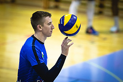 Plankelj Marko of Šoštanj Topolšica spinning ball on his finger during volleyball match between Panvita Pomgrad and Šoštanj Topolšica of 1. DOL Slovenian National Championship 2019/20, on December 14, 2019 in Osnovna šola I, Murska Sobota, Slovenia. Photo by Blaž Weindorfer / Sportida