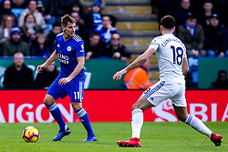 Marc Albrighton of Leicester City takes on Greg Cunningham of Cardiff City - Mandatory by-line: Robbie Stephenson/JMP - 29/12/2018 - FOOTBALL - King Power Stadium - Leicester, England - Leicester City v Cardiff City - Premier League