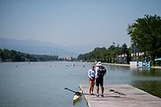 Plovdiv BULGARIA. 2017 FISA. Rowing World U23 Championships. <br /> PIERCE, Molly.<br /> Friday Boat Area. Boat Racks Pontoons.<br /> <br /> 12:25:33  Friday  21.07.17   <br /> <br /> [Mandatory Credit. Peter SPURRIER/Intersport Images].<br /> Friday Boat Area. Boat Racks Pontoons.<br /> <br /> 12:25:35  Friday  21.07.17   <br /> <br /> [Mandatory Credit. Peter SPURRIER/Intersport Images].