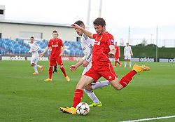 MADRID, SPAIN - Tuesday, November 4, 2014: Liverpool's Joe Maguire in action against Real Madrid CF during the UEFA Youth League Group B match at Ciudad Real Madrid. (Pic by David Rawcliffe/Propaganda)